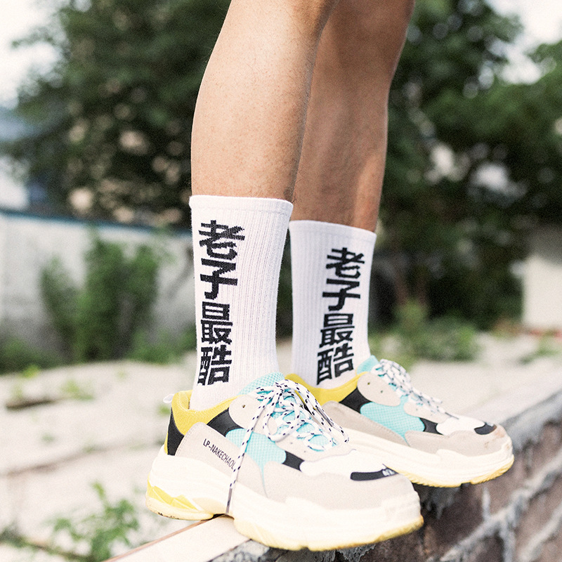 Personality Chinese Style Silk Stockings Laozi Cool Cotton Literary Couple Trend College Wind Black And White Casual Men's Socks