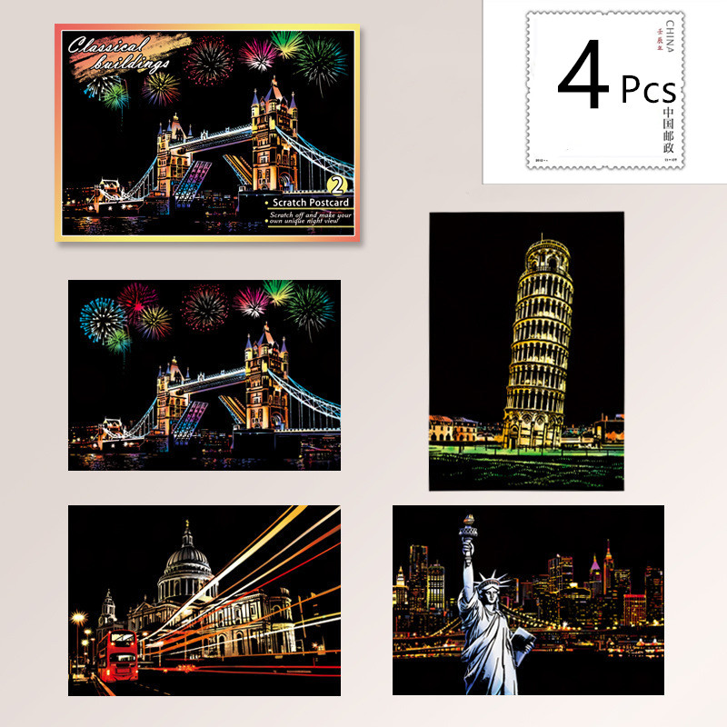 20*14cm Magic Scratch Art Crafts World Landscape Scraping Paintings Paper Postcards Kids Decompression DIY Creative Drawing Toys