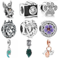 Hot Selling Crystal Camera Pineapple Angle Leaves Lion Train Flower Beads Fit Pandora Charms Bracelets for Women DIY Jewelry(China)