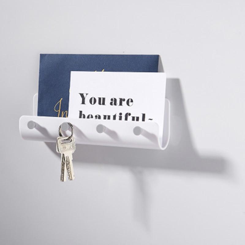 Key Hook Simple U-Shaped Wall-Mounted Hook Nail-Free Belt 4 Hook Storage Rack Key Holder Home Decoration