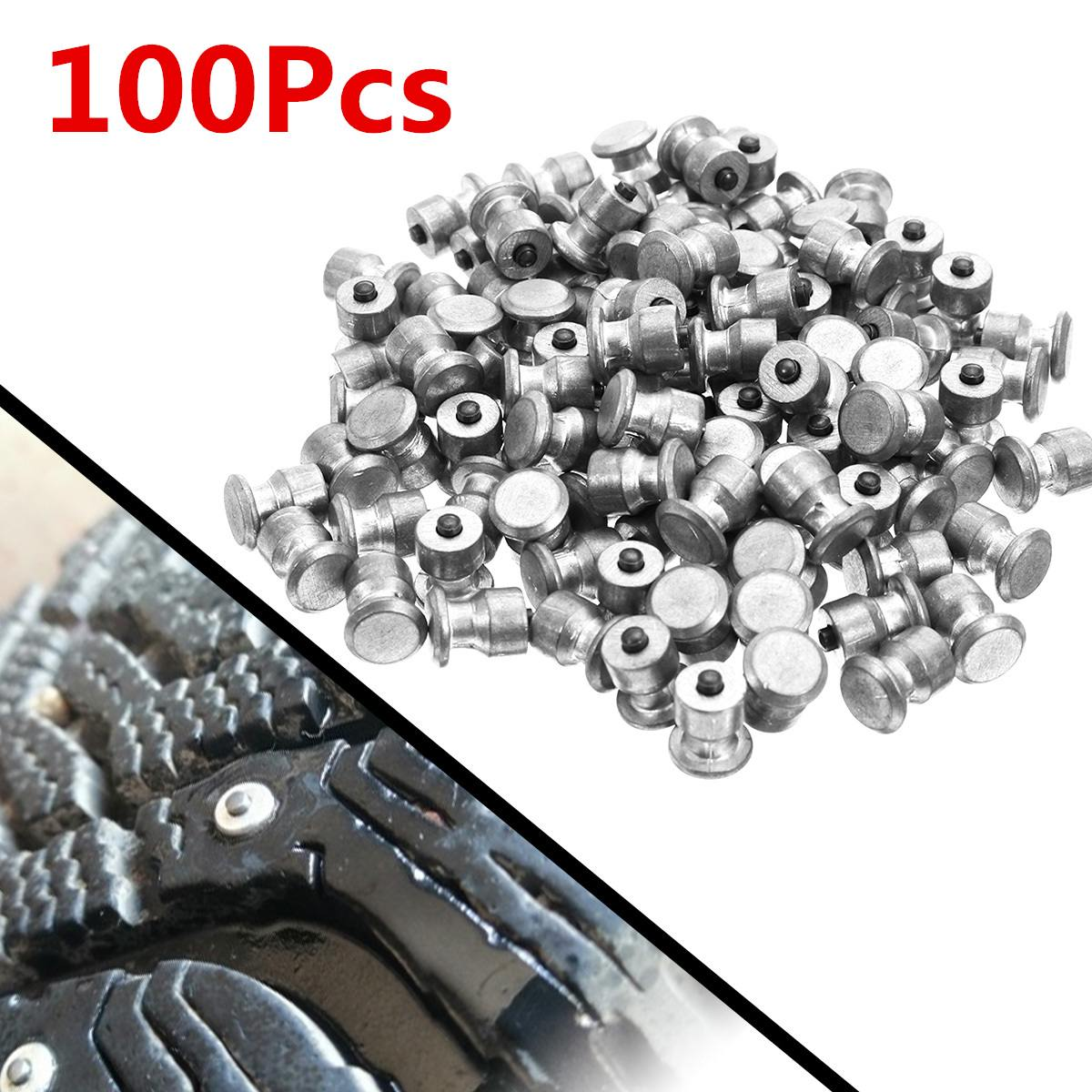 100pcs Winter Wheel Lugs Car Tires Studs Screw Snow Spikes Tyre Sled Snow Chains Studs For Shoes ATV Car Motorcycle Tire 8x10mm