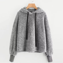 sweatshirt women's hoodies kpop Long Sleeve Faux Fur Solid Pullover Hooded korean style Crop hoodies sweatshirts streetwearF731(China)