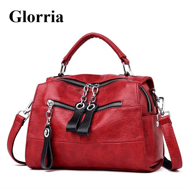 Glorria Fashion Genuine Cow Leather Handbags Women Bags Designer Shoulder Crossbody Bags Women Large Tote Messenger Bag Bolsa