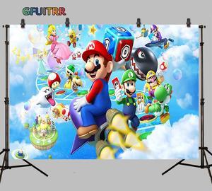 Image 2 - Gfuitrr Cartoon Game Karakter Super Marios Fotografie Achtergronden Kids Verjaardagsfeestje Foto Achtergrond Vinyl Foto Studio Props
