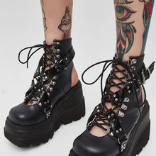 Karinluna INS Hot Sale Fashion Casual Shoes Women Gothic Style Black Metal Decoration Lace Up Buckle Big Size 43 Wedges Heels