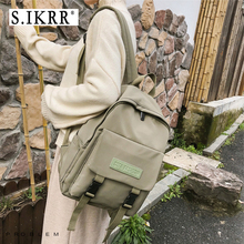 цены S.IKRR New Nylon Women Backpack Solid Color Korean School Bags For Teenage Female Multi Pocket Travel Backpack Bookbag Daily Bag