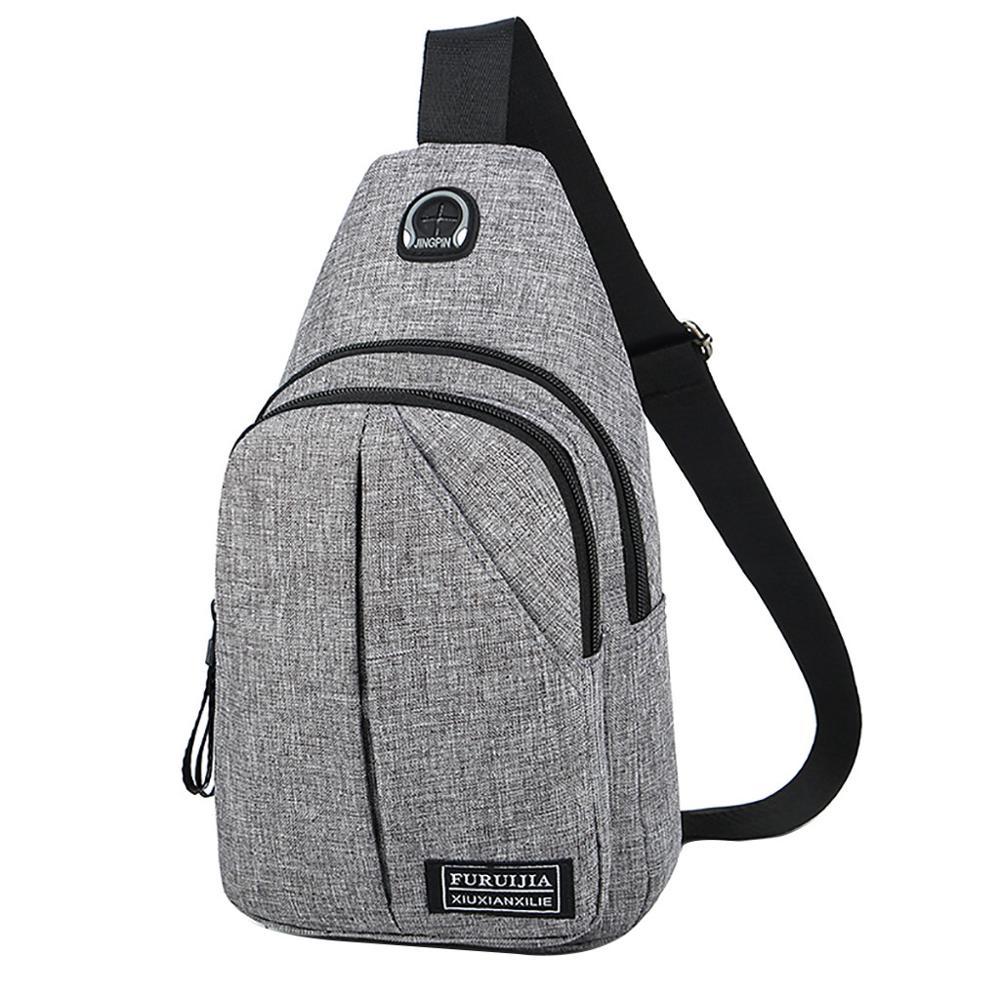 Fashion Men Crossbody Bags Chest Oxford Cloth Waterproof Handbags Men Zip Crossbody Chest Bags Bolsas