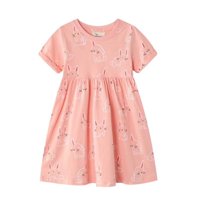 Jumping Meters Baby Girls Short Sleeve Dresses Cotton Clothes Summer Animal Dresses Kids Girls Casual Dresses Children 2-7T