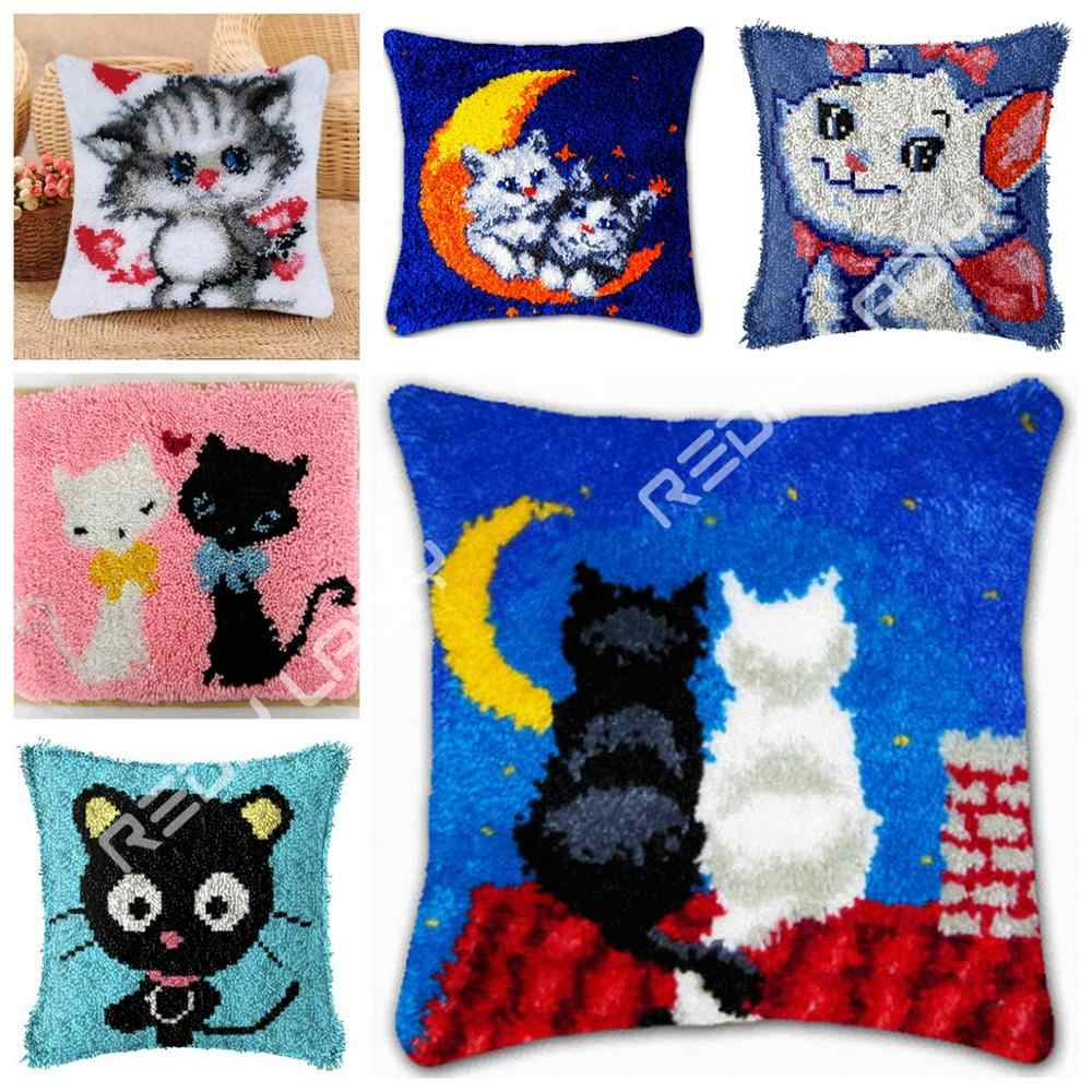 مزلاج هوك وسادة القمر القطط الحب كيس وسادة الكروشيه الفن والحرف الاكريليك الغزل للتطريز أريكة سرير غطاء وسادة المنزل ديكور