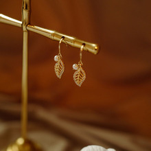 925 Sterling Silver Leaf Pearl Drop Earrings Elegant Luxury French Palace Female Fine Jewelry Gifts for Girls Birthday