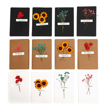 Dried Flowers Gift Birthday Invitations Greeting Cards  Paper Valentine