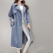 bandage jacket women 2019 Autumn Winter Casual Loose Button Mediun Long Jeans Top Denim Lapel Thick Long Sleeve Loose Coat(China)