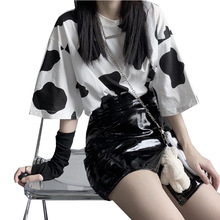 Letnia koszulka damska nadruk z krową koszulką z krótkim rękawem damska koszulka Harajuku damska koszulka z krótkim rękawem moda Streetwear koszulka damska Basic topy tanie tanio YOYIIGAA COTTON Poliester REGULAR Suknem Drukuj women tshirt NONE Na co dzień Osób w wieku 18-35 lat O-neck Black and White