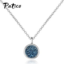 Blue Crystal 925 Sterling Silver Fragment Round Fantasy Concise Necklaces For Women Geometric Pendant Necklace Wedding Jewelry недорого
