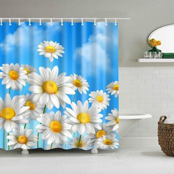 Cortinas de ducha con estampado de flores naturales para baño tela cómoda impermeable cortinas ecológicas de poliéster