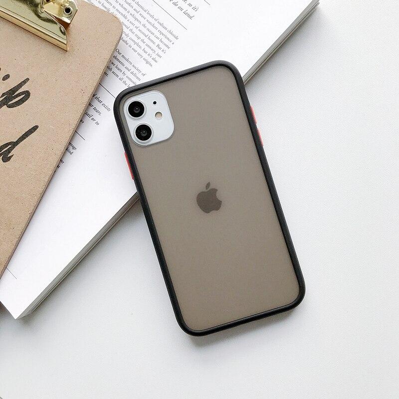 Прозрачный противоударный чехол для телефона для iPhone 11 Pro X XR XS Max 6 6s 7 8 Plus, чехол-бампер, силиконовая матовая прозрачная задняя крышка - Цвет: B