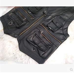 Image 5 - 2020 New gentlement leather vest male slim commercial male leather vest sheepskin leather men vest waistcoat with many pockets