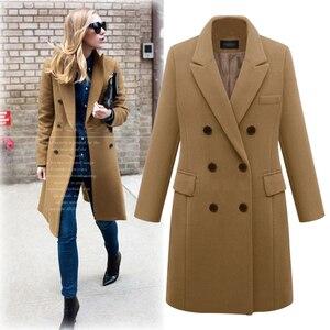 Image 2 - 2020 Autumn Winter Coat Women Straight Long Coat Wool Blend Jacket Elegant Burgundy Black Jacket Office Lady Coat MK 343