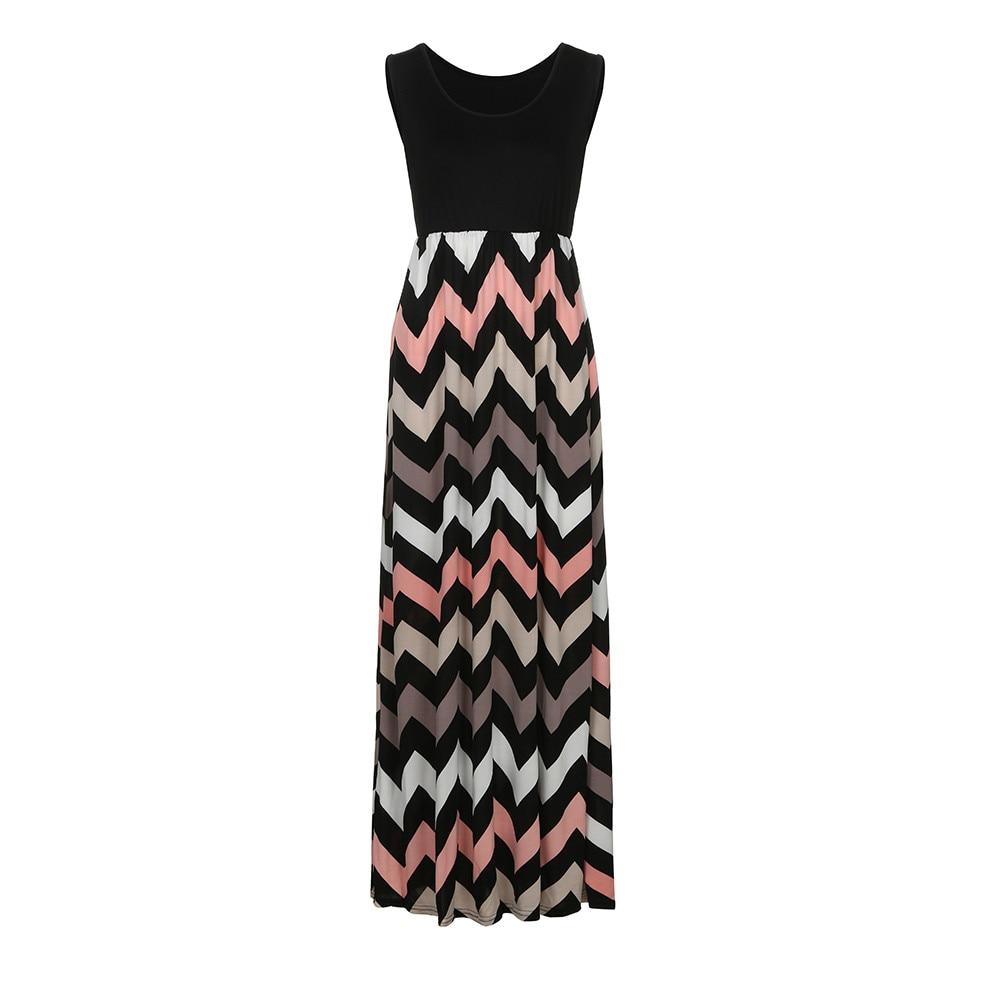 Summer Women Dress Striped Design Long Boho Dress Lady Sleeveless Beach Autumn Sundress Maxi Dress Female