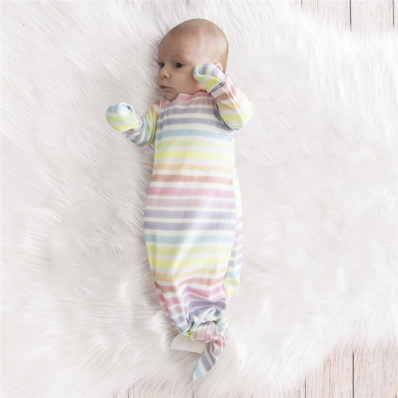 Newborn Kid Baby Boy Girl Rianbow Stripe Cotton Swaddle Muslin Wrap Swaddling Sleeping Bag Hat Set Cute Lovely Sweet Sleepwear