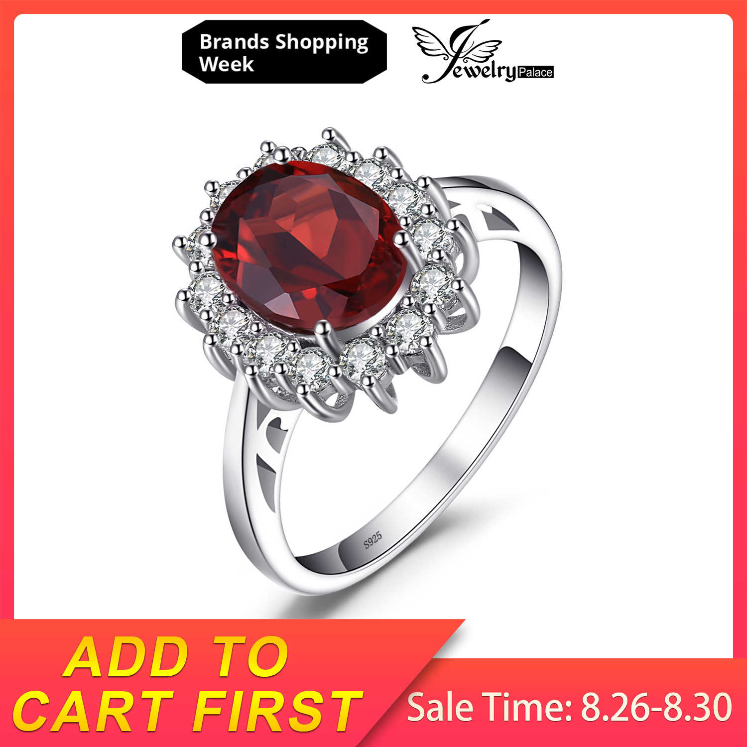 JewelryPalace 2.5ct Natural Garnet Kate Princesa Diana Anel de Noivado de Halo Genuine Pure 925 Sterling Sliver Jóias Para As Mulheres
