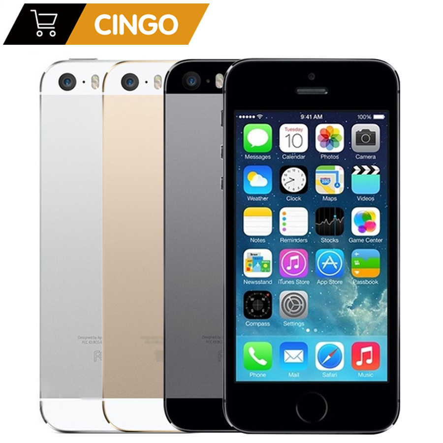 Fabrika Unlocked orijinal Apple iPhone 5S 16GB/32GB/64GB ROM 4.0 inç 8MP parmak izi IOS dokunmatik kimlik iCloud App Store WIFI GPS 5s