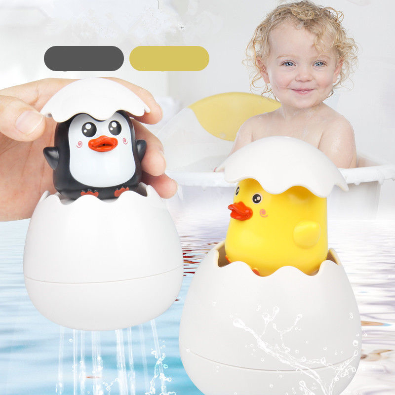New Boys Girls 2 Styles Shower Toys Kids Swimming Shower Funny Toy Baby Cartoon Cute Duck Penguin Egg Water Spray Sprinkler Toys