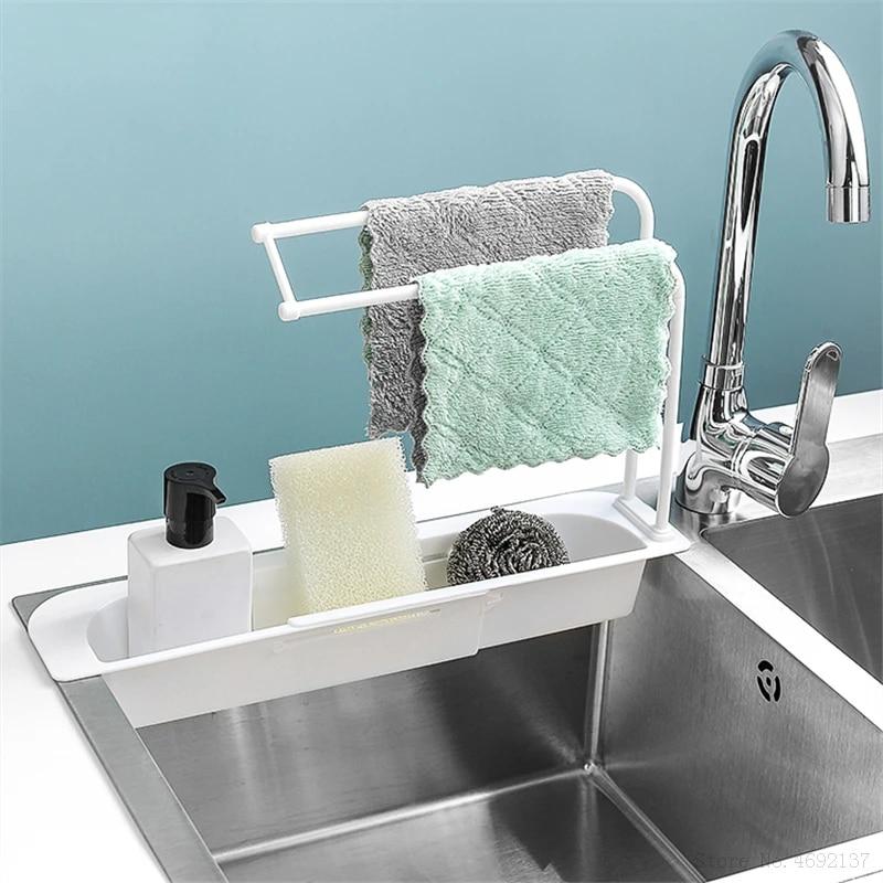 Telescopic Sink Rack Holder Household Adjustable Sink Rag Storage Rack  Expandable Storage Drain Basket For Home Kitchen Kit|Racks & Holders| -  AliExpress