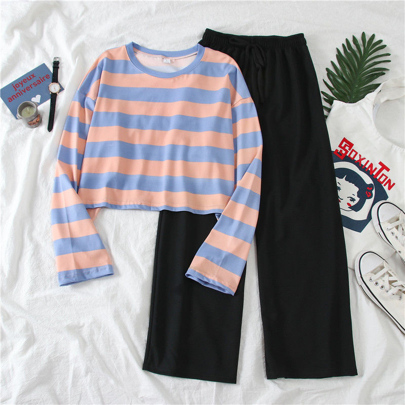 Women's Suit 2020 Spring Autumn New Fashion Two-piece Set Female Student Korean Shirt Wide Leg Pants Long Sleeve Striped T-shirt