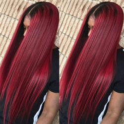 Brazilian 360 Silky Straight Wig Ombre 99J Lace Front Human Hair Wigs Pre Plucked 370 Lace Frontal Wig Baby Hair Human Hair Wigs