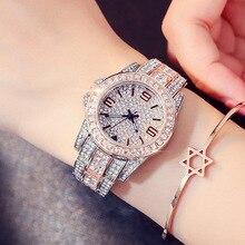 ריינסטון שעונים לנשים קוורץ שעון נשי יהלומי עיצוב אופנה באיכות גבוהה קוורץ לצפות גבירותיי צמיד שעון Horloge