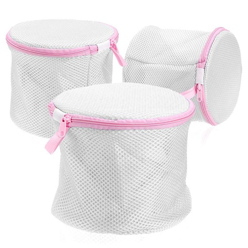 3pcs Folding Laundry Bag Dual-layer Underwear Bar With Bracket Home Bathroom Zipper Underwear Washing Machine Tool