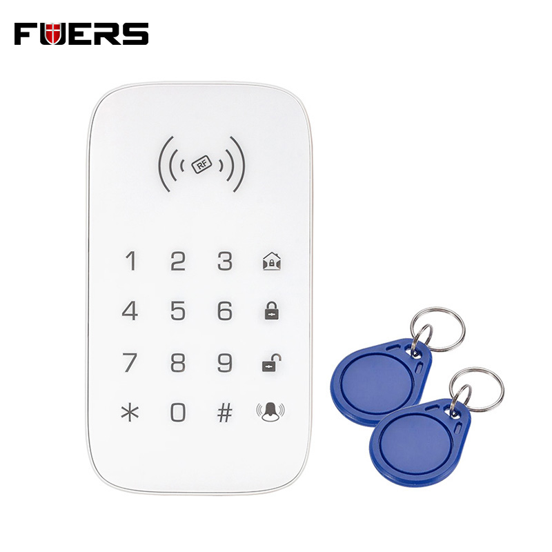 Wireless RFID Touch Keyboard For GSM Wifi Home House Alarm System Security System 433MHz White With Wireless RFID Keyboard
