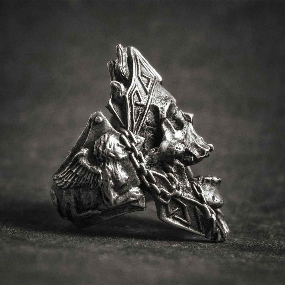 EYHIMD ที่ไม่ซ้ำกัน Gods of War Ares กะโหลกศีรษะ Punk Rock นักรบ 316L แหวนเหล็กสแตนเลสบุรุษเครื่องประดับ Biker