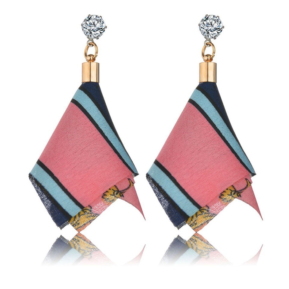 H1c1c60d545f44289a5b91cd58125f4d9W - Bohemian Heart Tassel Long Drop Earrings BOHO Pink Blue Silk Fabric Design Dangle Earrings For Women Jewelry Gift Christmas