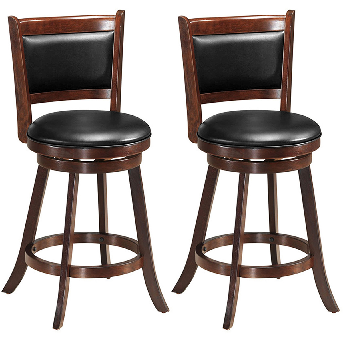 Costway Set Of 2 24'' Swivel Counter Stool Wooden Dining Chair Upholstered Seat Espresso
