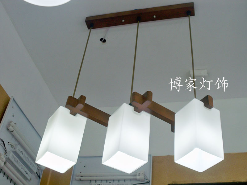 Chinese Japanese  Led wood glass lampshade Chandelier  Restaurant dining room lamp e27 110-220v