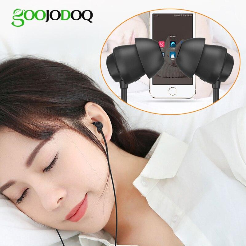 GOOJODOQ Sleep Earphone Headphones For Children Kids Student Sleeping Soft Wired Earphones 3.5mm With Microphone For Sony Phone