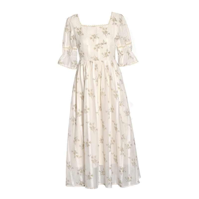 Robe Midi élégante pour femme, Vintage française, robe féerique à col carré, dentelle, rétro, une pièce, été 2020