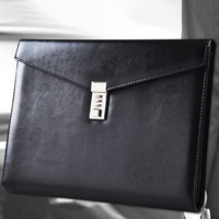 Creative A4 High-Grade Leather with Lock Business Multi-Function Thickening Learning Office Supplies Password Briefcase