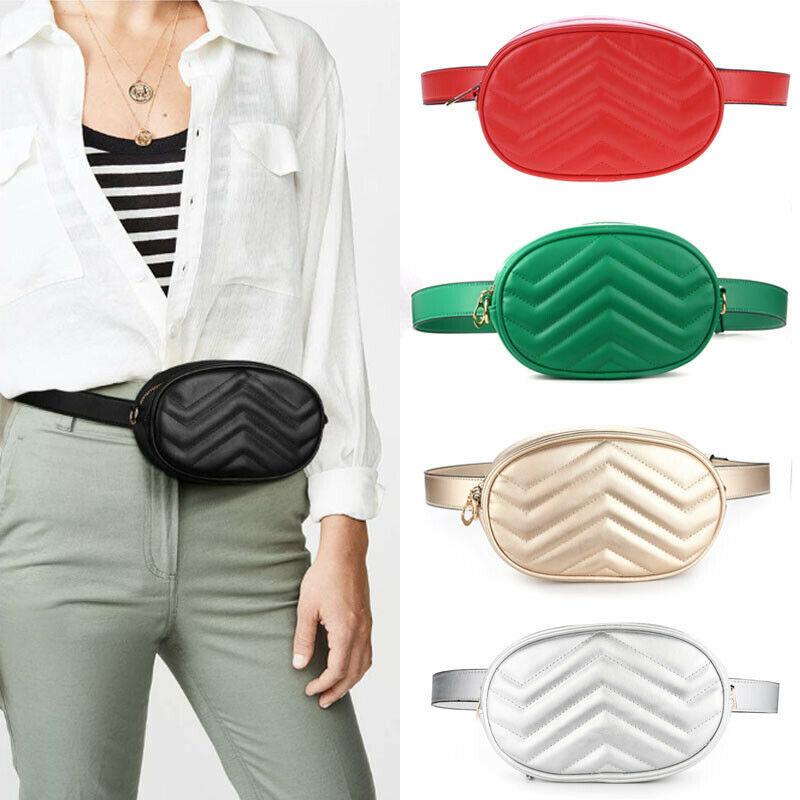 PU Leather Women's Shiny Travel Waist Fanny Pack Purse Holiday Money Belt Fanny Wallet Mini Bum Bag Pouch Trendy Bag Sliver Gold