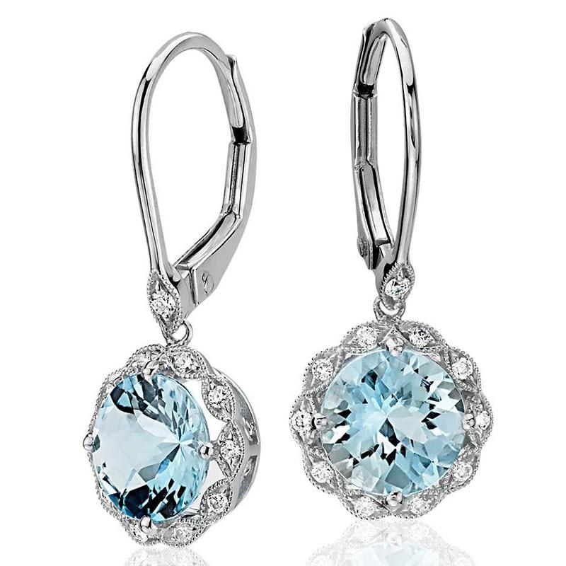 Classic Silver Color Round Sky Blue Flower Zircon Stone Dangle Earring Fashion Jewelry Long Drop Earrings Brincos For Women Gift