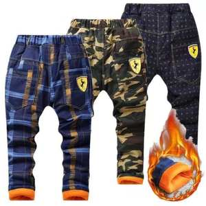 Winter Pants Trousers Full-Pant-Leggings Fleece Thick Kids Camouflage Plaid Warm Baby