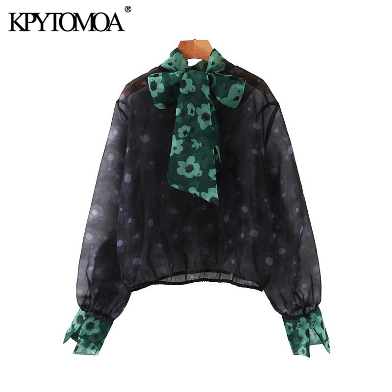 Vintage Stylish Floral Print See Through Blouses Women 2020 Fashion Bow Tie Collar Long Sleeve Female Shirts Blusas Chic Tops