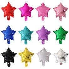 50 шт./лот 10-дюймовые фольгированные воздушные шары со звездами, украшение для свадебвечерние вечеринки, дня рождения, воздушные надувные ша...