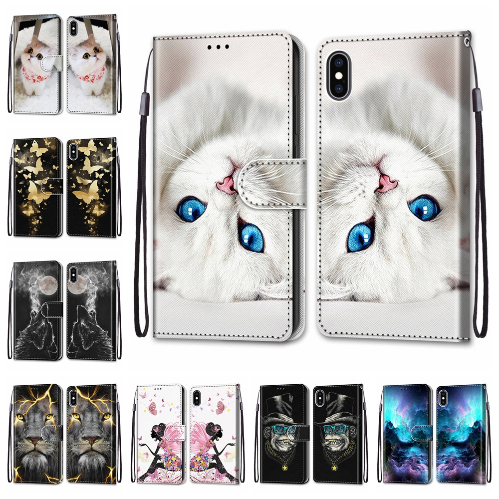 For Apple iPhone 6 6s 7 8 Cover PU Leather For Apple iPhone X XS XR Case Lion Patterned For Apple iPhone XS Max Coque Shell