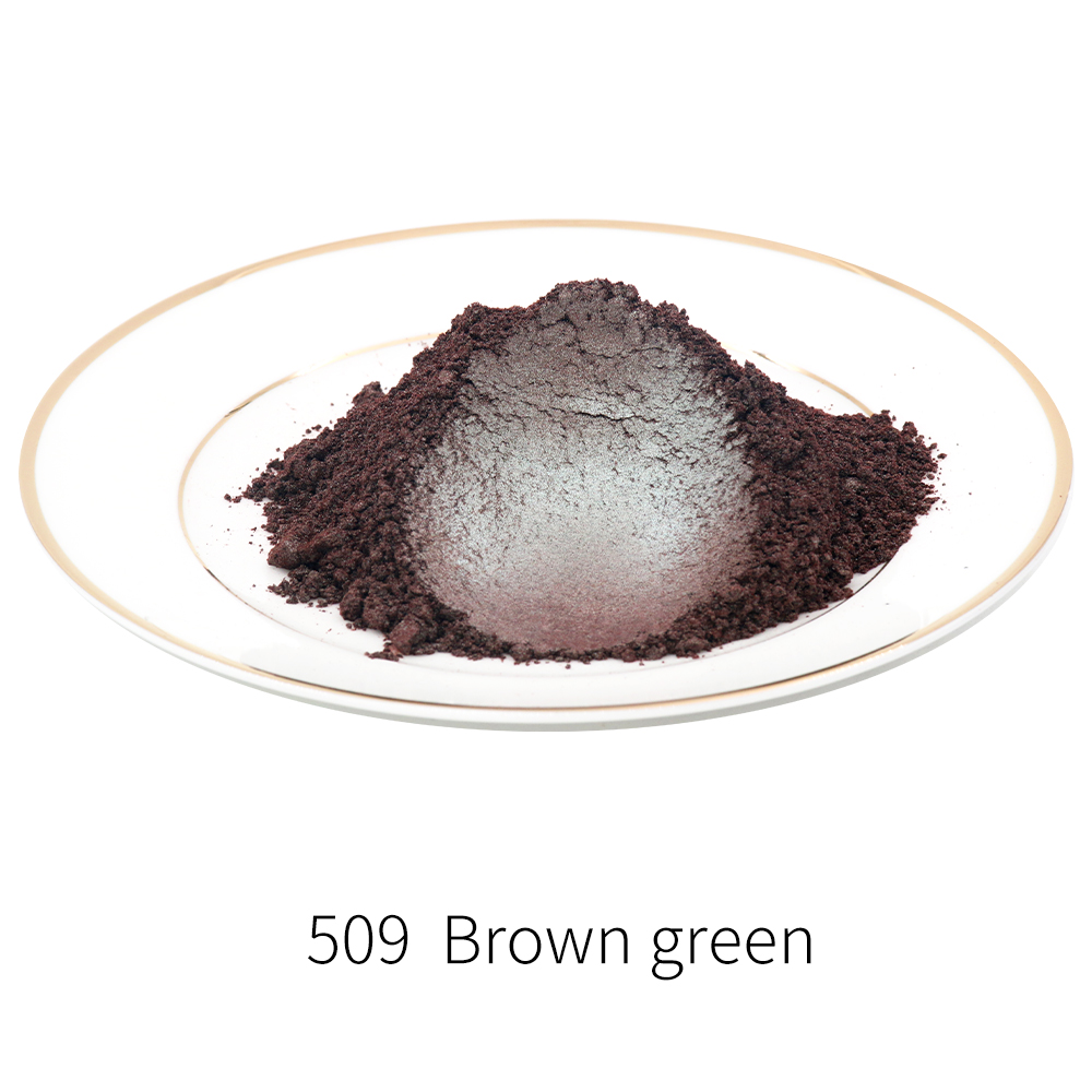 #509 Pearl Powder Pigment Brown Green Mineral Mica Powder DIY Dye Colorant Soap Painting Automotive Art Crafts Acrylic Paint 50g