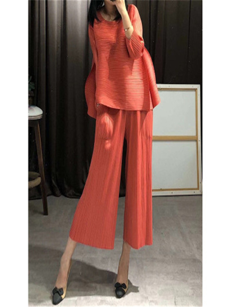 Miyak Pleated Suit 2019 Summer New High-end Temperament Wide Leg Pants Suit Female Loose Thin Paragraph Pleated Pants Suit Women