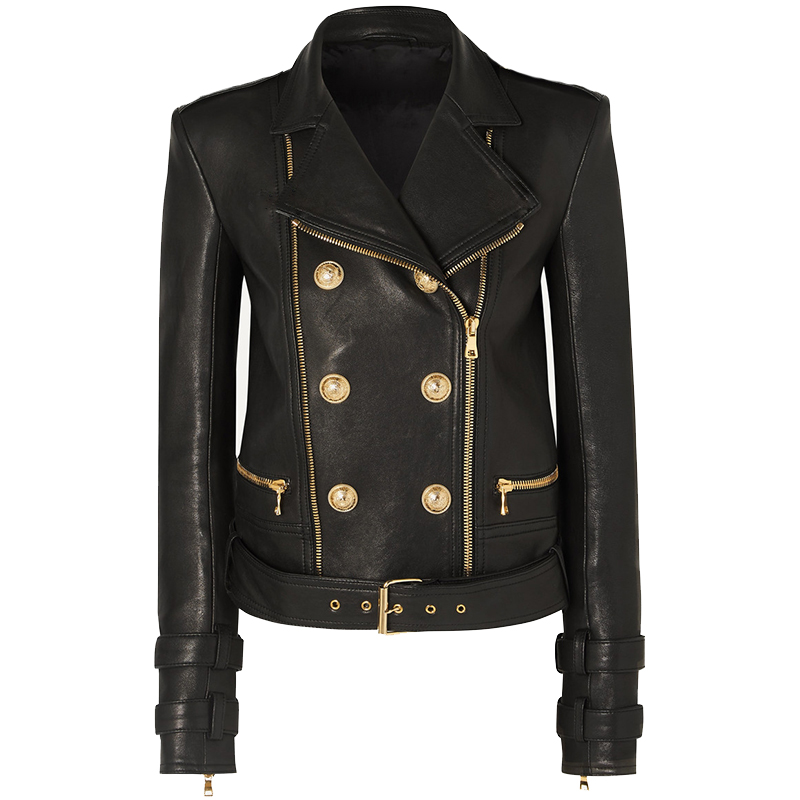 HIGH QUALITY 2021 Newest Designer Jacket Women's Lion Buttons Faux Leather Jacket Motorcycle Biker Jacket