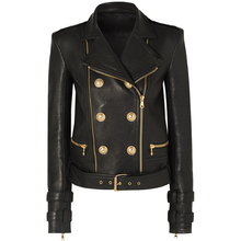 Designer Jacket Motorcycle Faux-Leather Women's Lion-Buttons High-Quality Newest